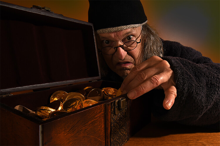 Scrooge counting coins